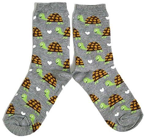 Ladies Green Pretty Multiple Tortoise Socks One Size