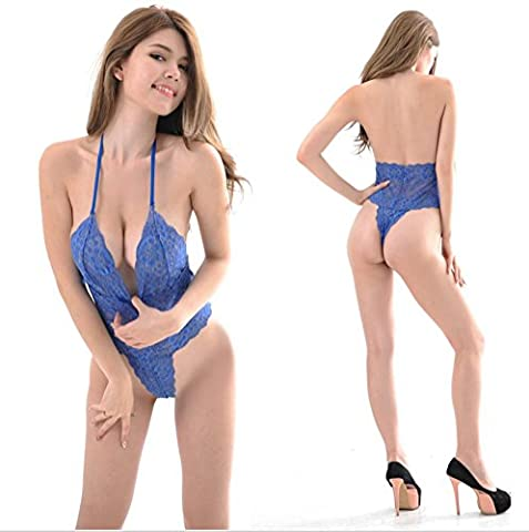 FENGHAO Women Sexy Lingerie Deep V Halter Lace Bodysuit Lingerie Pyjamas Sexy Wild Temptation Ladies Three Point Perspective Underwear Sets