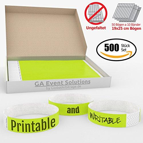 GA Event Solutions Braccialetti di identificazione Tyvek, Giallo Neon, 500 pezzi