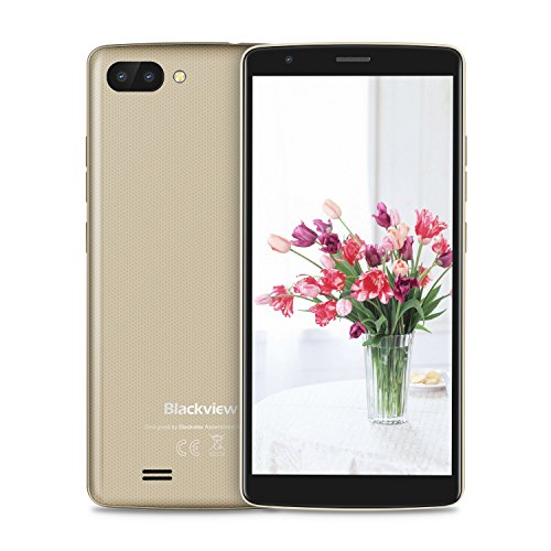 "Blackview A20 Android 8.0 Dual Sim Smartphone Ohne Vertrag, 18: 9 Full HD 5.5"" Bildschirm 2.0MP Frontkamera + 5.0MP Dual RückseitenKameras, 1GB + 8GB, 3000mAh Batterie mit Guenstig 3G Handys Golden"