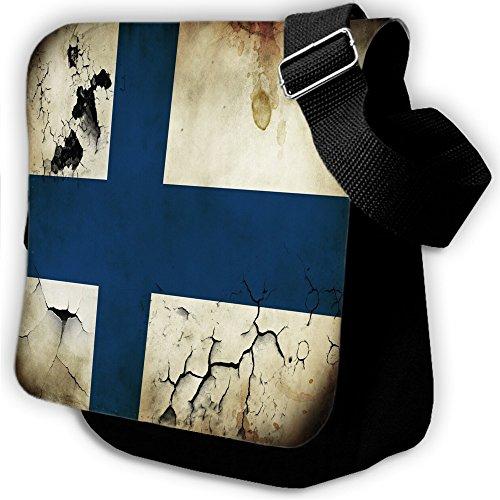 Bandiere Finlandia 2, Mappa del Mondo, Unisex Nero Sublimazione Borsa a tracolla Reporter Bag con Spallacci regolabili e Motivo Colorato.Dimensione:Small-22x18x5cm
