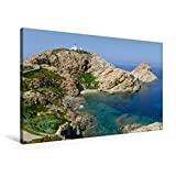 Premium Textil-Leinwand 90 cm x 60 cm quer, Leuchtturm Piétra in L'Île-Rousse (Korsika) | Wandbild, Bild auf Keilrahmen, Fertigbild auf echter aus dem Kalender Korsika (CALVENDO Orte)
