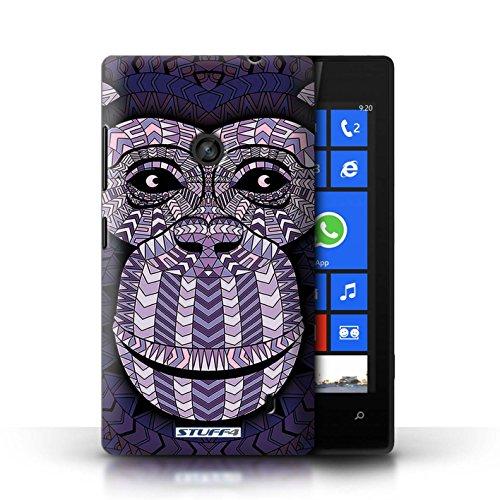 Etui / Coque pour Nokia Lumia 520 / éléphant-Couleur conception / Collection de Motif Animaux Aztec Singe-Pourpre