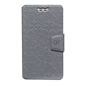 Jo Jo Cover Aarav Series Leather Pouch Flip Case With Silicon Holder For Videocon A53 Silver