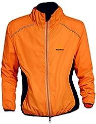 WOLFBIKE Veste maillot de Cyclisme Hommes equitation respirant Manteau coupe-vent Vetements de velo a manches longues (Orange,XL)