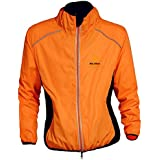 WOLFBIKE bicicleta Jersey Hombre Montar transpirable Ciclo Chaqueta Ropa bici camisas de manga largas Abrigo del viento M Naranja