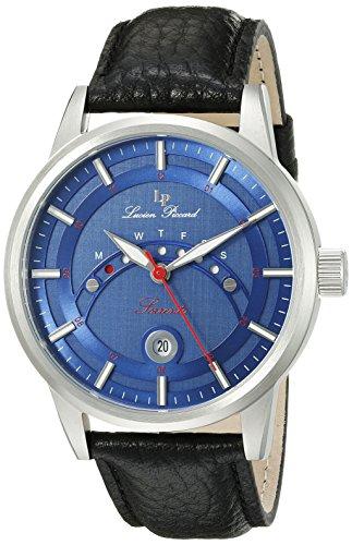 Lucien Piccard uomo Sorrento 44mm nero vera pelle & acciaio cassa orologio automatico 10154–03