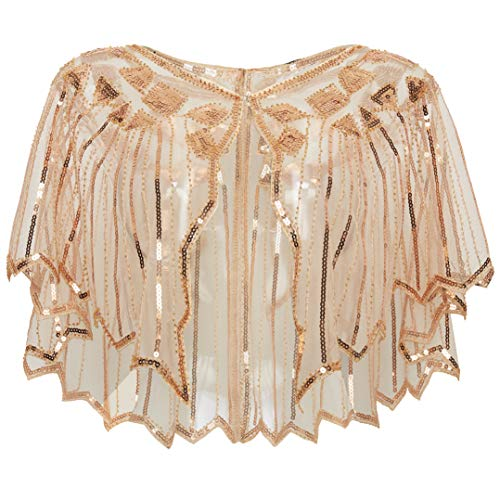 ArtiDeco Damen Umschlagtücher Stola für Abendkleid 1920s Retro Schal Hochzeit Party Braut Schal Gatsby Kostüm Accessoires (Rose Gold)
