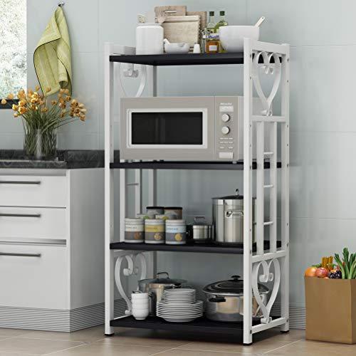 Kitchen furniture - Étagère multifonctions ajustable Simple grille à four à micro-ondes à 4 couches WXP (Couleur : White+black, taille : 70X45CM)