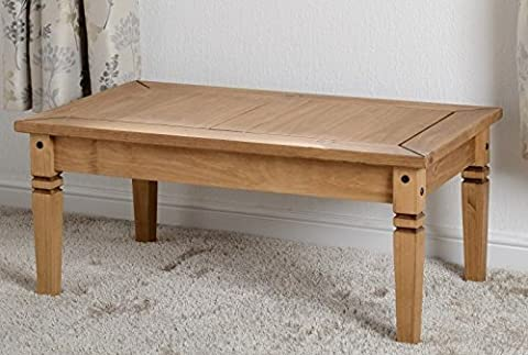 Salvador Table basse en pin ciré effet vieilli