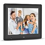 Apzka 8 Zoll HD Digitaler Bilderrahmen mit Eingebautem 2GB Speicherung- und Bewegungssensoren, MP3- und Video-Wiedergabe mit Autodrehung/Kalendar/Uhr Funktion mit Fernbedienung (8-Zoll Schwarz)
