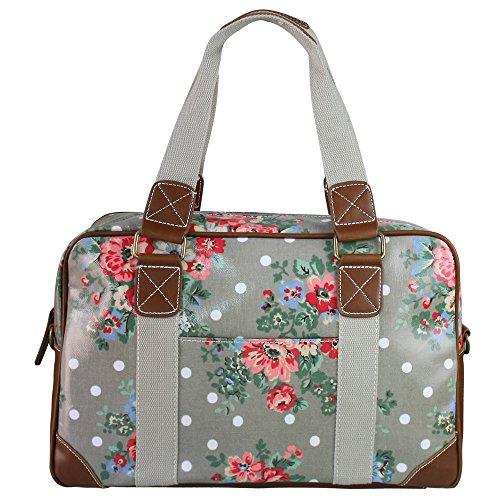 miss-lulu-ladies-flower-dot-oilcloth-travel-weekend-away-bag-grey-l1106f-gy