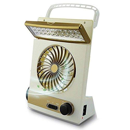 GUORZOM 3 in 1 Desktop Lüfter Multifunktionale Solar Fan mit LED Lampe Für Home Outdoor USB/Solarbetriebene Camping Fan Kleine Tragbare 110V-240V, Gold 240 Usb