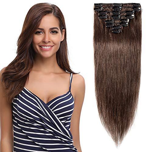 Clip in Extensions Echthaar Mittelbraun #4 Haarverlängerung 8 Teile 18 Clips Remy Human Hair guenstig Glatt Haarverdichtung 60cm-80g
