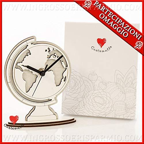 Ingrosso e risparmio cuorematto - orologio in legno da tavolo a forma di mappamondo, bomboniere solidali matrimonio, laurea, tema viaggio, con scatola regalo inclusa (senza confezionamento)