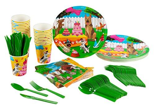 Blau Panda Einweg Geschirr Set–Welpen 24-set Papier Geschirr–Party Supplies für Kinder Geburtstag und Feier, inkl. Messer, Löffel, Gabeln, Pappteller, Servietten und Tassen, Welpen
