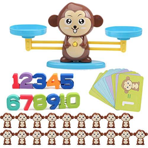Queta Juguete balanza para niños Monkey Balance, Juguete Educativo Montessori para Aprender matemáticas Juego para niños para desarrollar Inteligencia y coordinación Ojo-Mano (60 Piezas)