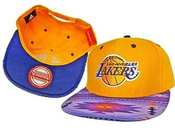 Casquette Los Angeles Lakers Customisee avec un Tissu Imprime Azteque et dessous en Cuir Violet - Snapback Officielle NBA - EDITION LIMITEE