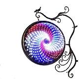 YAGEER bideng Luz giratoria de LED Tienda a Prueba de Agua Hotel Barbería Molino de Viento Luz Rueda Caliente Caja de luz de la Rueda Luz Redonda (Color : A)