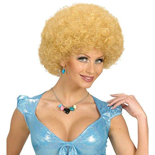 NET TOYS Blonde 70er 80er Jahre Afroperücke Engel Lockenperücke Unisex Blondie Afro Haare Locken Perücke Schlagerparty Lockenkopf Kostüm ()
