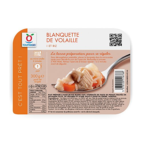 Toupargel Blanquette de Volaille/Riz 300 g Surgelé