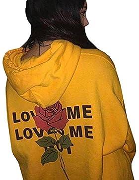 HARRYSTORE Mujeres Rosa Impreso Blusa Pocket Sudadera Con Capucha Caliente Simple Pullovers