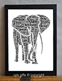 UPK Gifts Personalised Elephant Keepsake Print Gift Word Art Family Best Friends Daughter Son Love Teacher