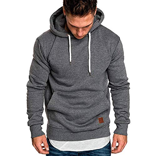 KUDICO Herren Kapuzenpullover Herbst Winter Solid Casual langärmeliges Sweatshirt Top Bluse Tracksuits mit Front Känguru Tasche, Angebote! (Dunkelgrau, 2XL)
