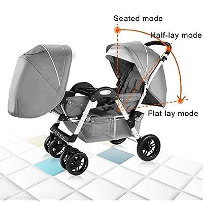 JIE KE Doble Cochecito de bebé Desmontable Ligera Amortiguador bebé Pueda Sentarse Mentira Doble Cochecito Plegable de Neumáticos Cochecito (Color : Gray)