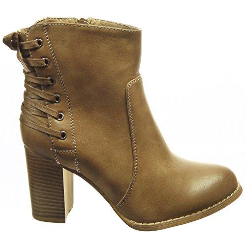 Angkorly - Chaussure Mode Bottine low boots femme lacets Talon haut bloc 8 CM - Intérieur Fourrée Kaki