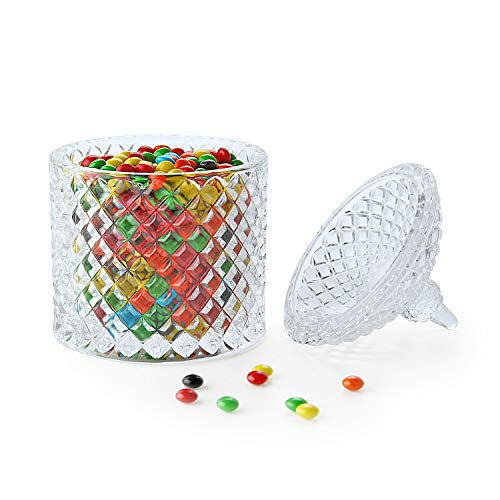 Rachel's Glasabdeckung, Aufbewahrungsdose für Süßigkeiten, Kekse, Snacks, Schokolade, Erdnuss und mehr, ideal für Zuhause und Büro, Dekoration für Familie, Hochzeit Pack of 1 Diamond-Cylinder Waterford Candy Dish