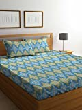 Bombay Dyeing Cynthia 120 TC Polycotton Double Bedsheet with 2 Pillow Covers, Blue
