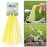 AMOS 2 x Lenkerfransen Funkelnd Streamer Glänzend Fransen Retro Bändchen für Kinder Mädchen Rad Fahrrad Dreirad Scooter Griff Lenker Quasten Troddeln (Gelb)