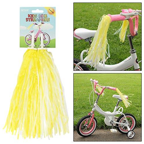 AMOS 2 x Lenkerfransen Funkelnd Streamer Glänzend Fransen Retro Bändchen für Kinder Mädchen Rad Fahrrad Dreirad Scooter Griff Lenker Quasten Troddeln (Gelb) (Mädchen Fahrrad Streamer)