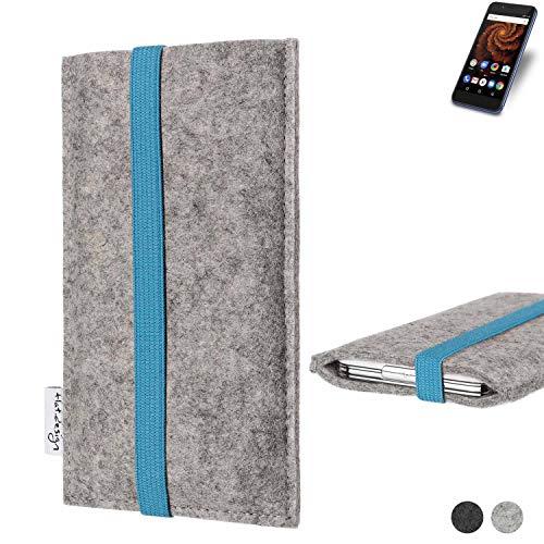 flat.design Handy Hülle Coimbra für Allview X4 Soul Mini S - Schutz Case Tasche Filz Made in Germany hellgrau türkis
