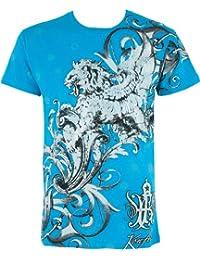 Sakkas Lion et Vignes En relief argent métallique Manches courtes Col rond Coton T-Shirt Fashion homme