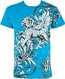 Sakkas Lion and Vines T-Shirt aus Baumwolle für Männer - Türkis/Small