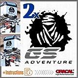 2pcs Dakar GS Adventure Aufkleber BMW R 1200 1150 F 800 650 F700 GS A R1200GS R1200 Motorrad Touratech Motorcycle Givi Trekker Outback Aluminium Panniers SEITENKOFFER Top Case (Black/Grey)