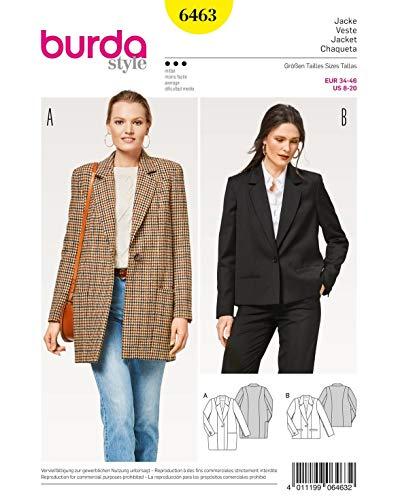 Burda 6463Jacke Chef Leichtbauweise, Papier, weiß, 19x 14x 0,5cm - Couture Blazer
