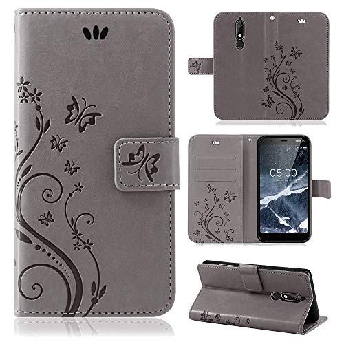 betterfon | Flower Case Handytasche Schutzhülle Blumen Klapptasche Handyhülle Handy Schale für Nokia 5.1 Grau