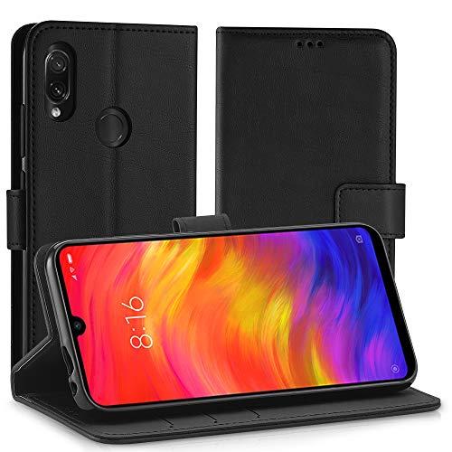 Simpeak Ersatz für Xiaomi Redmi Note 7 Hülle Schwarz [6,3 Zoll], Case Cover für Redmi Note 7 / Redmi Note 7 Pro flipcase [Kartensteckplätze] [Stand Feature] [Magnetic Closure Snap]
