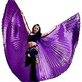 Danza Ropa & Accessories ISIS Wings alas Velo Danza del Vientre Belly Dance Disfraz Samba Danza de Carnaval, Color Morado, tamaño Talla única