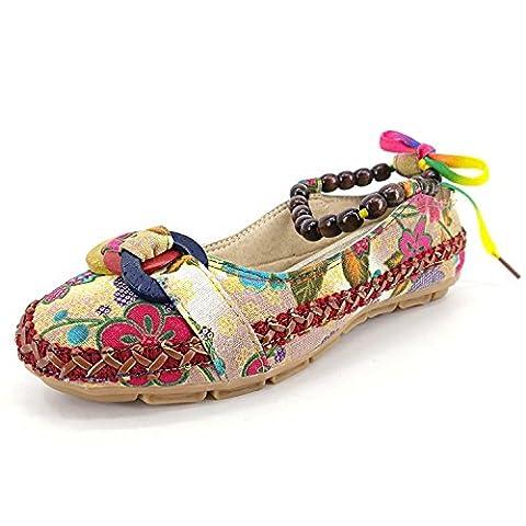 Minetom Mehrfarbig Ethnische Bestickte Runde Kopf Bemalte Mehrfarbig Slip On Schuhe Slipper Hand-Perlen Mokassin Ballerina Tanzschuhe, Mehrfarbig, EU (Punkt 100 Grain)