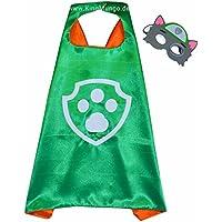 Paw Patrol Rocky Cape y máscara - Super Héroes de disfraces para niños - Disfraz para niños de 3 a 10 años - para Super Held Fiestas. Juguetes para niños y niñas - King Mungo - kmsc013