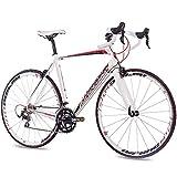 CHRISSON 28 Zoll Rennrad Road Bike - Reloader Weiss mit 20 Gang Shimano 105 Schaltung - Straßenrennrad mit Carbon Gabel für Damen und Herren