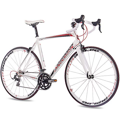 CHRISSON 28 Zoll Rennrad Road Bike - Reloader Weiss 59 cm mit 20 Gang Shimano 105 Schaltung - Straßenrennrad mit Carbon Gabel für Damen und Herren