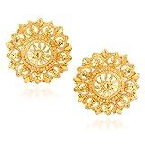 Fashionaya Golden Wheel Stud Earrings Fo...