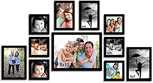 Painting Mantra Memory Wood Wall Photo Frame (106.68 cm x 7.62 cm x 55.88 cm, Clear, Set of 11)