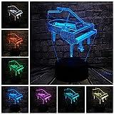 SHKQ Musical Instrument Retro Piano 3D USB LED Light 7 Luci di Colore Musicista Regali Camera da Letto per Bambini Decorazione Elegante Night Lights