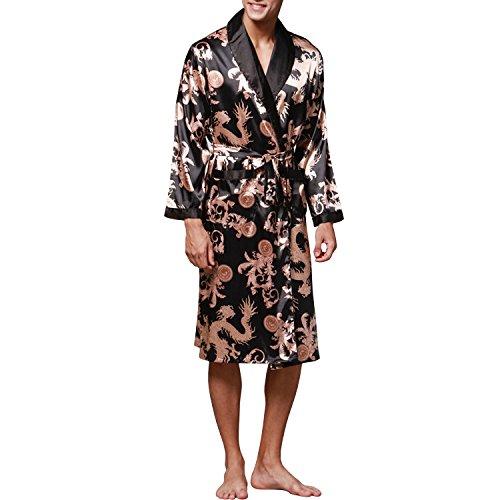 Sidiou Group Night Robe Men Kimono Bathrobe Satin Robe Long Sleeve  Nightgown Dressing Gown Nightwear Sleepwear f7d00a5f1
